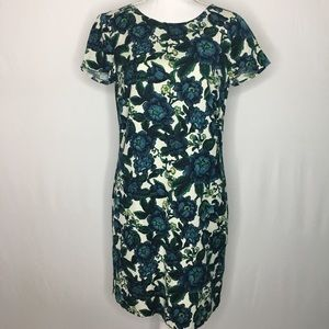 LOFT linen blend floral sheath dress short sleeves
